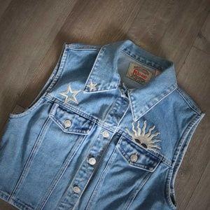 1990s Vintage Denim Vest Stars Sun Cropped Medium